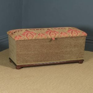 Antique English Victorian Mahogany Upholstered Ottoman Box Stool Trunk (Circa 1880) - yolagray.com