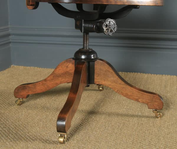 Antique English Edwardian Solid Beech & Burgundy Red Leather Revolving Office Desk Arm Chair (Circa 1910) - yolagray.com