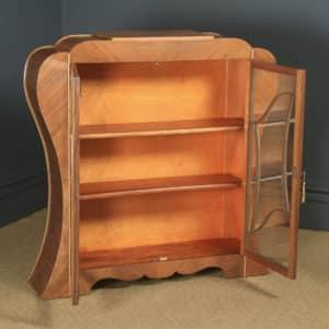 Antique English Art Deco Figured Walnut Shaped Glass China / Book Display Cabinet (Circa 1930) - yolagray.com