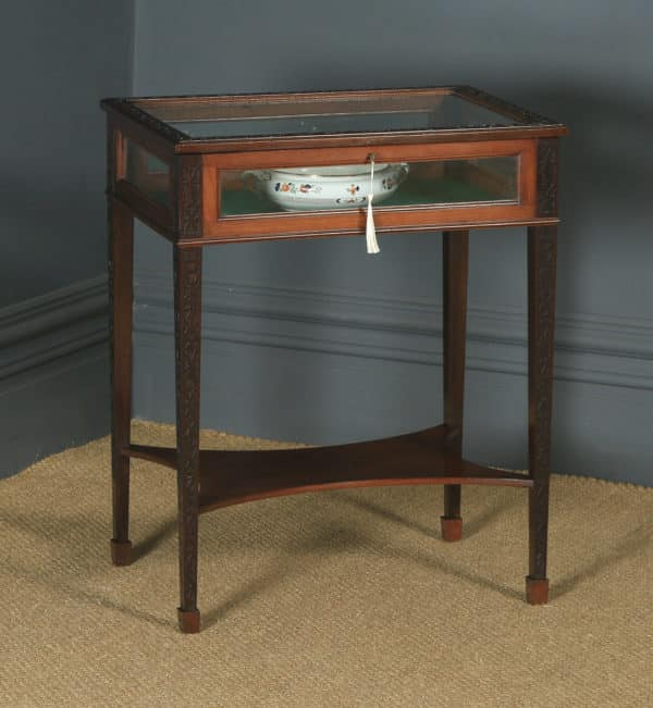 Antique English Edwardian Chippendale Style Mahogany Glass Bijouterie Display Cabinet Table (Circa 1910) - yolagray.com