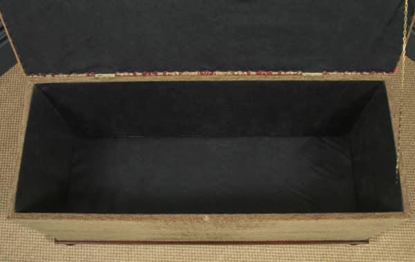 Antique English Victorian Mahogany Upholstered Ottoman Box Stool Trunk (Circa 1880) - yolagray.com
