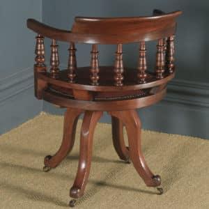 Antique English Victorian Mahogany & Burgundy Red Leather Revolving Swivel Office Desk Arm Chair (Circa 1890) - yolagray.com