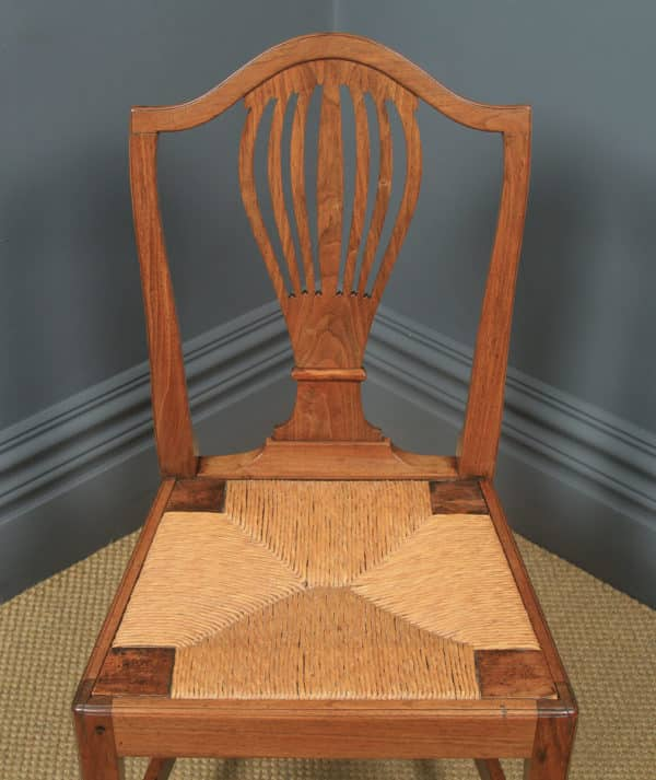 Antique Set of Six English Georgian Hepplewhite Camel Backed Walnut Provincial Kitchen Dining Chairs (Circa 1850) - yolagray.com
