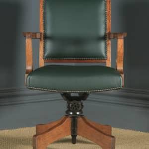 Antique English Edwardian Solid Oak & Green Leather Revolving High Back Office Desk Arm Chair (Circa 1910) - yolagray.com