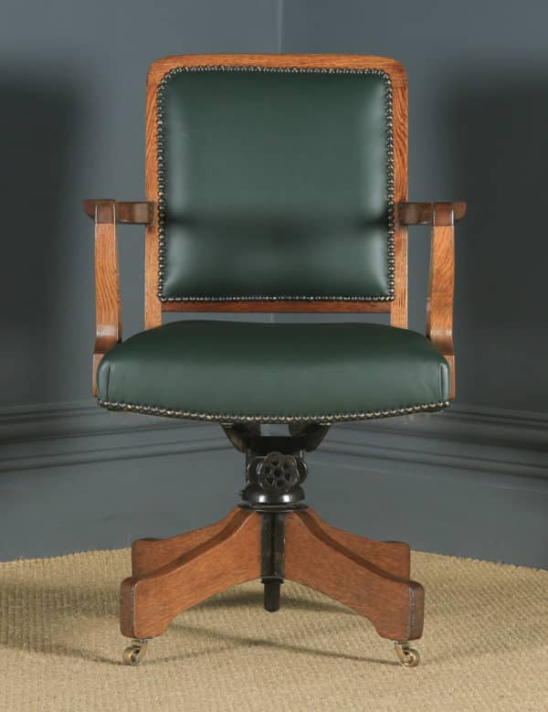 Antique English Edwardian Solid Oak & Green Leather Revolving High Back Office Desk Arm Chair (Circa 1910) - yolagray.com