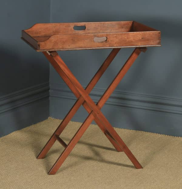 Antique English Victorian 19th Century Mahogany Butlers Drinks Tray Table & Stand (Circa 1860) - yolagray.com