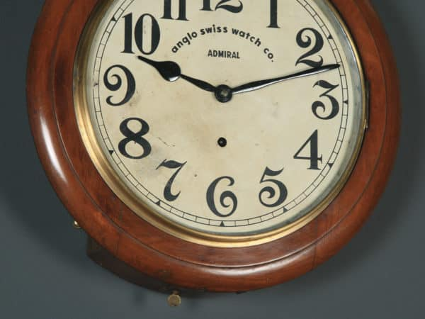 "Antique 16"" Mahogany Anglo Swiss Admiral Railway Station / School Round Dial Wall Clock (Timepiece) - yolagray.com"