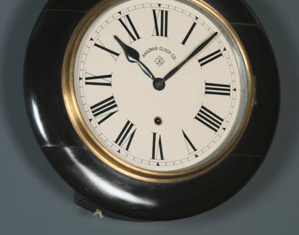 Antique 14½″ Mahogany Ansonia Railway Station / School Round Dial Wall Clock (Timepiece) - yolagray.com