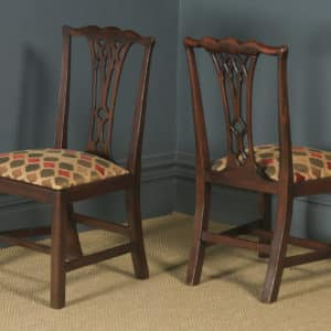 Antique English Set of Six 6 Georgian Chippendale Mahogany Dining Chairs (Circa 1800) - yolagray.com