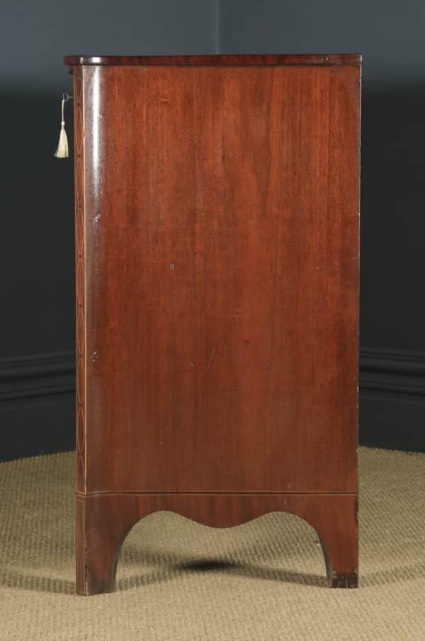 Antique English Georgian Regency Mahogany Inlaid Serpentine Chest of Drawers (Circa 1810) - yolagray.com