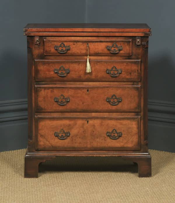 Antique English Small Georgian Style Edwardian Burr Walnut Bachelors Chest of Drawers & Writing Table Desk (Circa 1910) - yolagray.com