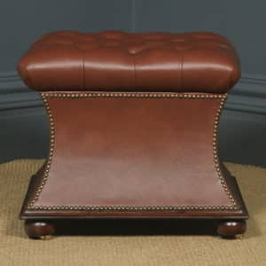 Antique English Victorian Mahogany Brown Leather Upholstered Concave Ottoman Box (Circa 1870) - yolagray.com