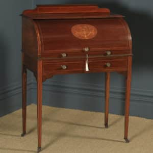 Antique English Edwardian Mahogany & Leather Cylinder Office Roll Top Writing Table / Desk (Circa 1905) - yolagray.com