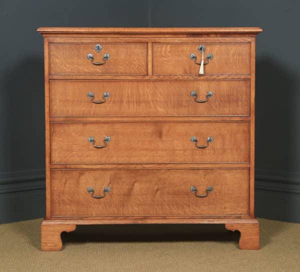 English 18th Century Georgian Style Oak Chest of Drawers by Bryn Hall (Circa 1995) - yolagray.com