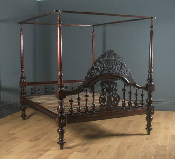 "Antique 5ft 9"" Victorian Anglo-Indian Colonial Raj King Size Four Poster Bed (Circa 1880) - yolagray.com"