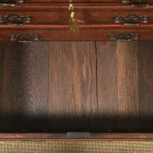 Antique English Small Georgian Style Edwardian Burr Walnut Bachelors Chest of Drawers & Writing Table Desk (Circa 1910) - yolagray.com