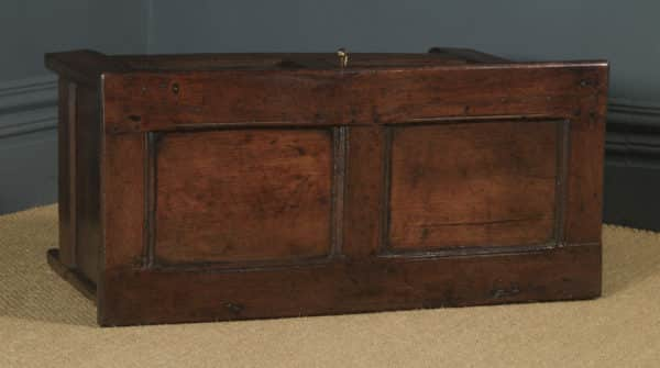 Antique English 18th Century Georgian Oak Joined & Panelled Coffer Chest Blanket Box Trunk (Circa 1720) - yolagray.com