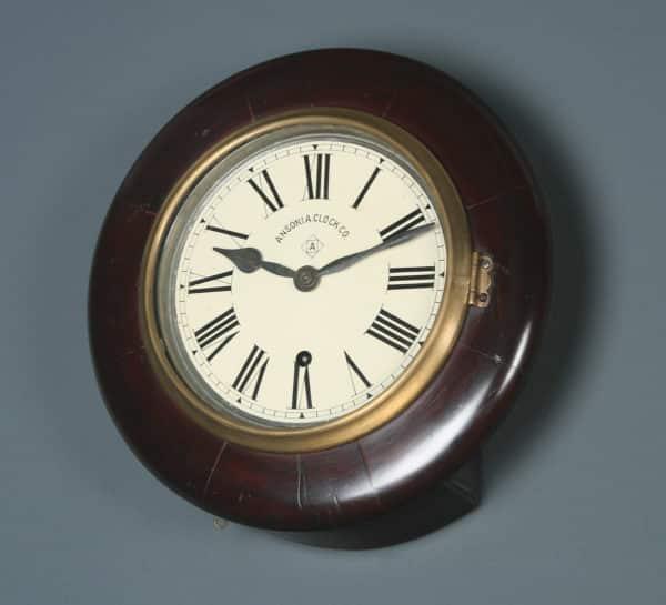 Antique 12″ Mahogany Ansonia Railway Station / School Round Dial Wall Clock (Timepiece) - yolagray.com