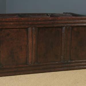 Antique English 17th Century Charles II Oak Inlaid Triple Panel Yorkshire Coffer (Circa 1680) - yolagray.com