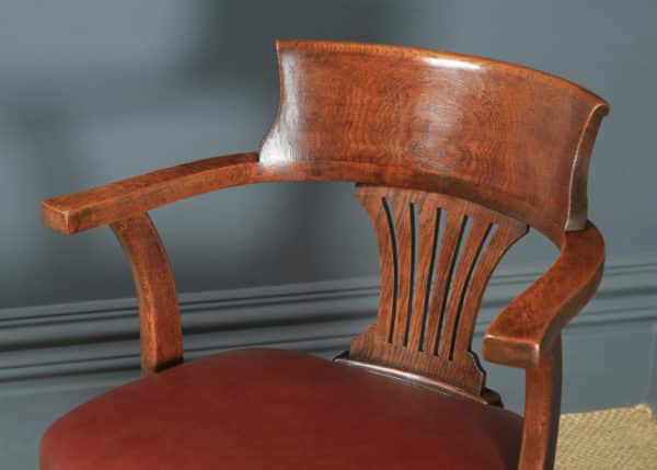 Antique English Edwardian Oak & Brown Leather Revolving Office Desk Arm Chair (Circa 1910) - yolagray.com