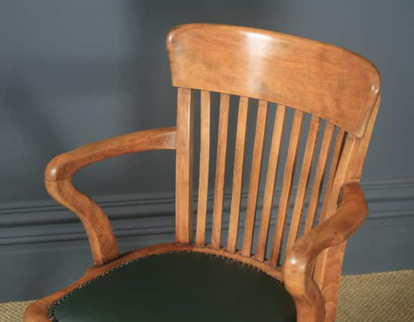 Antique English Victorian Beech & Green Leather Revolving Office Desk Arm Chair (Circa 1890) - yolagray.com