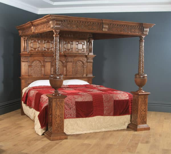 English Elizabethan Style 6ft Super King Oak Carved Four Poster Bed by Taylor & Co. (Circa 1990) - yolagray.com