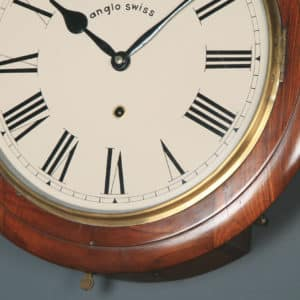 Antique 16″ Mahogany Anglo Swiss Railway Station / School Round Dial Wall Clock (Timepiece) - yolagray.com