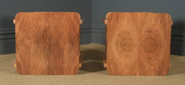 Pair of Art Deco English Walnut Square Two Tier Occasional Coffee Bedside Side Tables (Circa 1930 - 1940) - yolagray.com