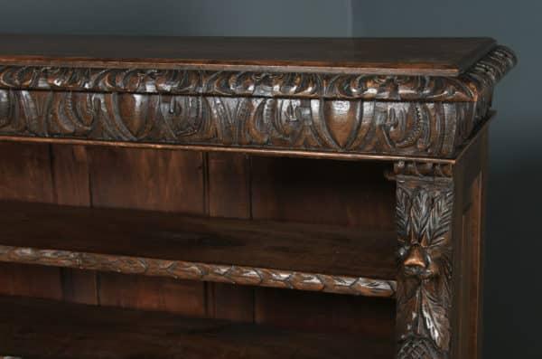 Antique English Victorian Carved Green Man Open 3½ft Bookcase Shelf (Circa 1870) - yolagray.com