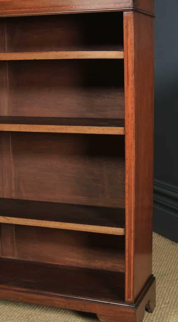 Antique English Edwardian Georgian Style Mahogany & Satinwood Inlaid Open 4ft Bookcase Shelf (Circa 1910) - yolagray.com