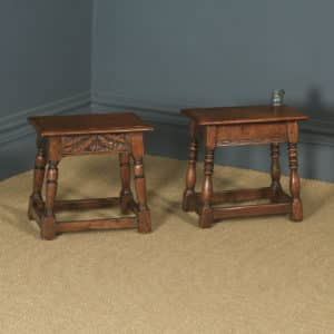 Antique English Pair of 17th Century Style Solid Oak Joint Stools / Side Tables (Circa 1920) - yolagray.com