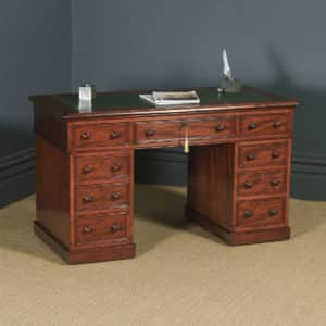 Antique English Victorian 4ft Mahogany & Leather Pedestal Office Desk (Circa 1860) - yolagray.com