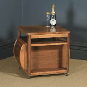 Antique English Art Deco Figured Walnut Drinks Cabinet Trolley Coffee Table by Incorporall (Circa 1930 – 1940) - yolagray.com