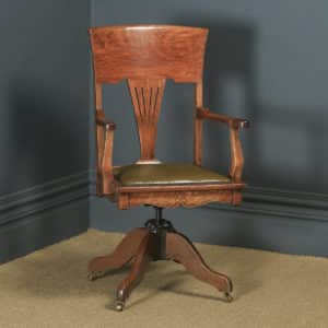 Antique English Edwardian Art Nouveau Oak & Leather Revolving Office Desk Arm Chair (Circa 1910) - yolagray.com