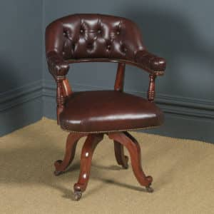 Antique English Victorian Mahogany & Burgundy Red Leather Revolving Office Desk Arm Chair (Circa 1880) - yolagray.com