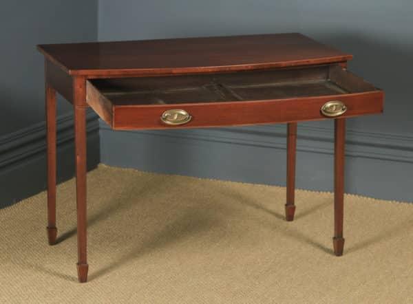 Antique English Georgian Regency Mahogany Inlaid Bow Front Side Table (Circa 1820) - yolagray.com
