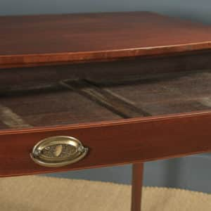 Antique English Georgian Regency Mahogany Inlaid Bow Front Side Table (Circa 1820) - yolagray.com