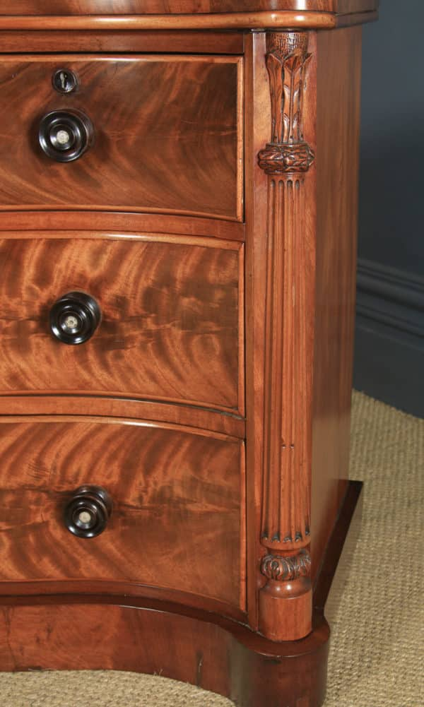 Antique English Victorian Flame Mahogany Serpentine Chest of Drawers (Circa 1860) - yolagray.com