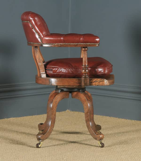 Antique English Victorian Oak & Red Leather Revolving Office Desk Arm Chair (Circa 1880) - yolagray.com