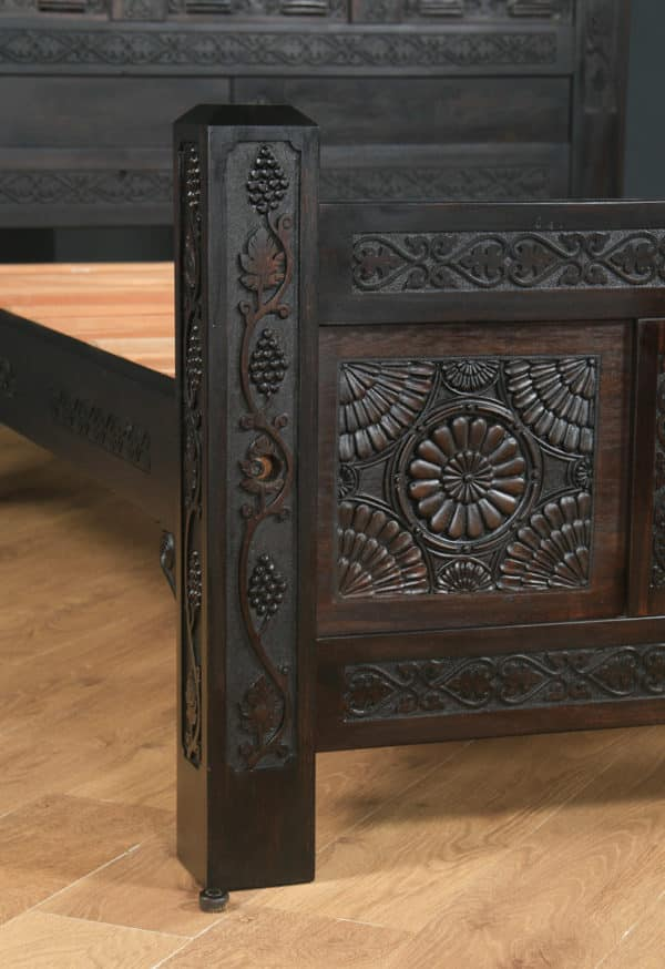 Tudor Style 4ft 6″ Wide Double Size Carved Oak Bed (Circa 1980) - yolagray.com