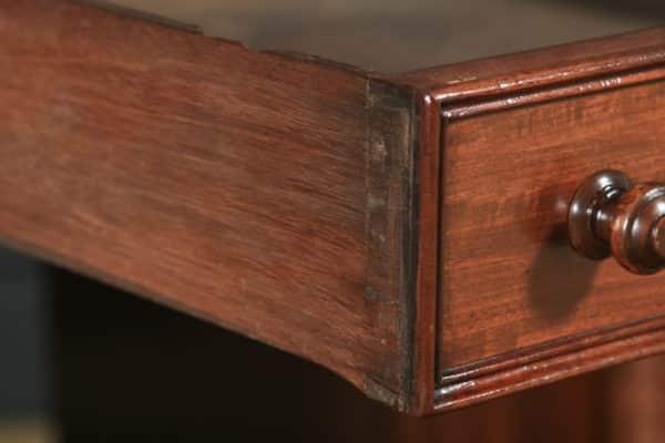 Antique English Victorian 4ft Mahogany & Leather Pedestal Office Desk (Circa 1860) - yolagray.com