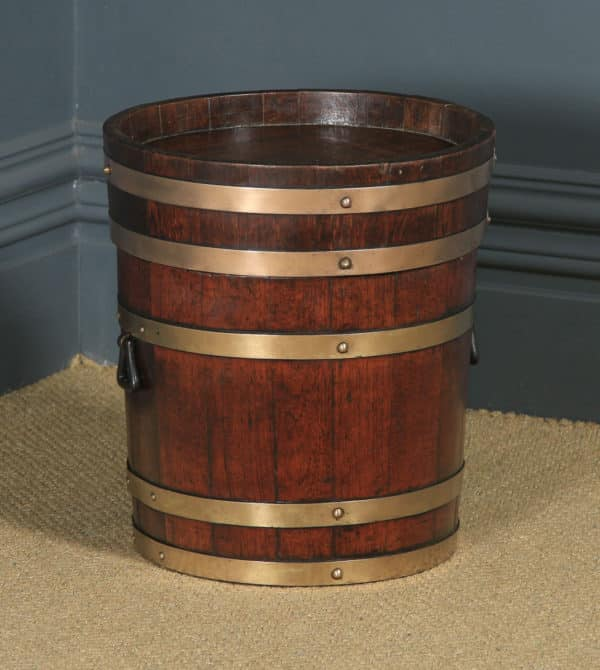 Antique English Victorian Oak & Brass Bound Butter Barrel Stool / Seat Bucket by R. A. Lister & Co. (Circa 1890) - yolagray.com