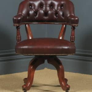 Antique English Victorian Mahogany & Burgundy Red Leather Revolving Office Desk Arm Chair (Circa 1880) - yolagray.com