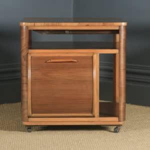 Antique English Art Deco Figured Walnut Drinks Cabinet Trolley Coffee Table by Incorporall (Circa 1930 – 1940) - yolagray.com