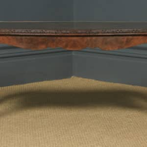Antique English Queen Anne Style Carved Burr Walnut & Glass Coffee Table (Circa 1920) - yolagray.com