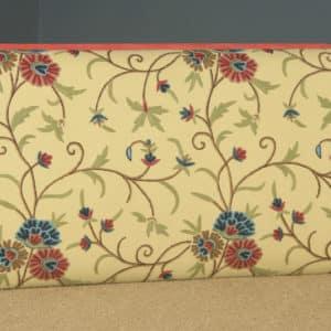 Antique English Victorian Mahogany & Crewel Work Concave Ottoman Box Stool Trunk (Circa 1870) - yolagray.com