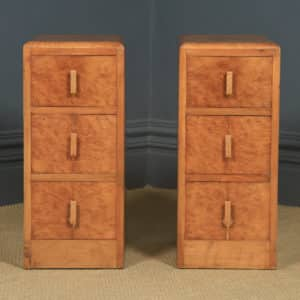 Antique English Pair of Art Deco Figured Walnut Bedside Chests / Tables/ Nightstands (Circa 1930) - yolagray.com