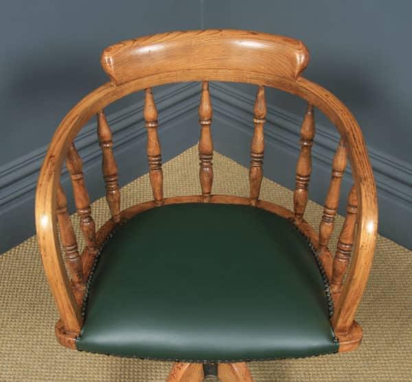 Antique English Edwardian Solid Ash Green Leather Revolving Office Desk Arm Chair (Circa 1910) - yolagray.com