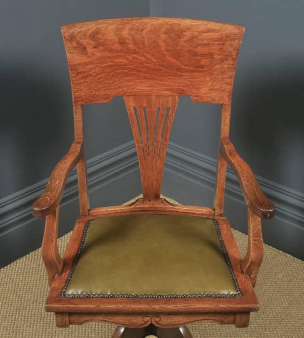 Antique English Edwardian Art Nouveau Oak & Leather Revolving Office Desk Arm Chair (Circa 1910) - yolagray.com