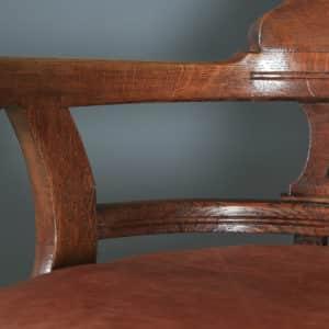 Antique English Victorian Oak & Brown Leather Revolving Office Desk Arm Chair (Circa 1880) - yolagray.com
